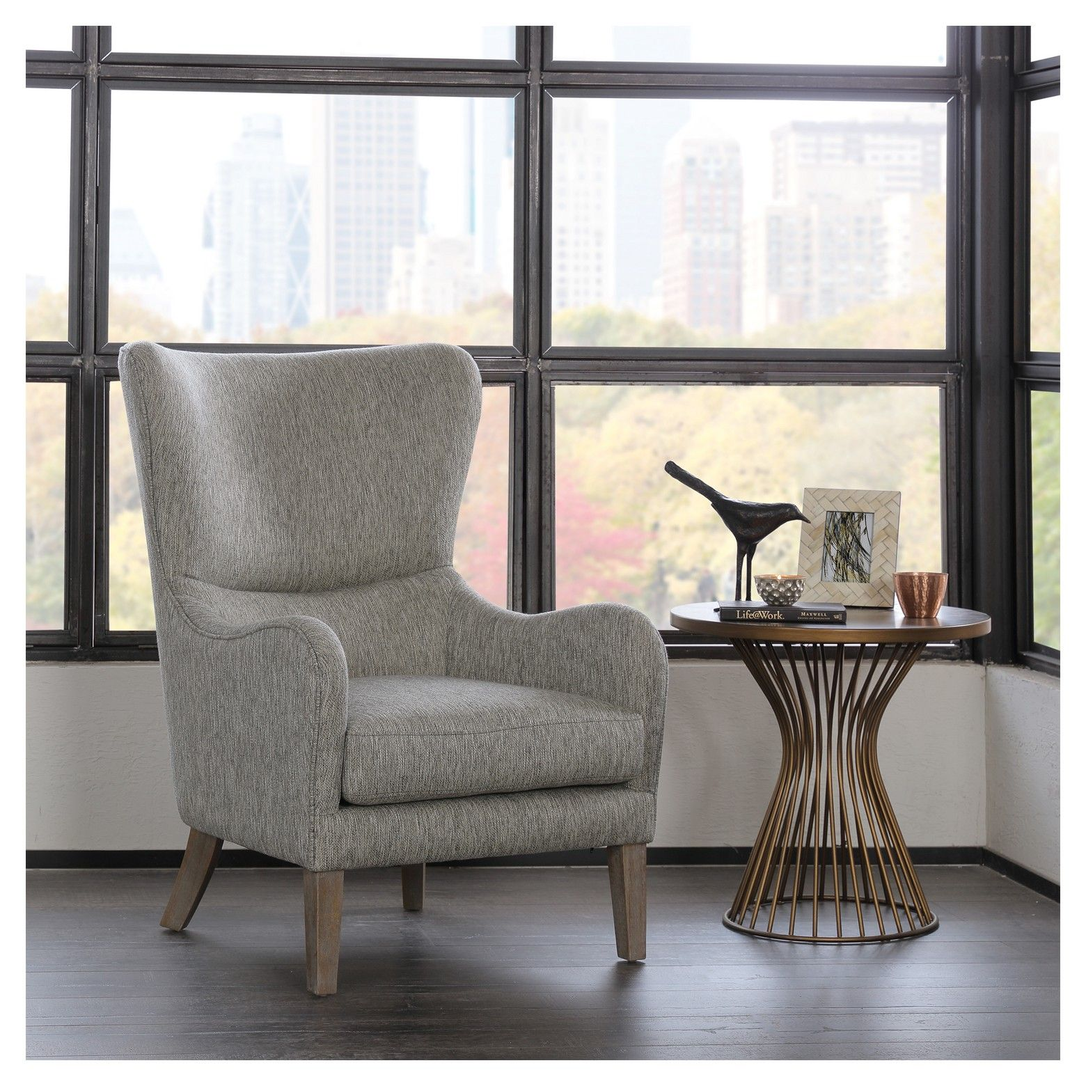 aria swoop upholstered wing chair