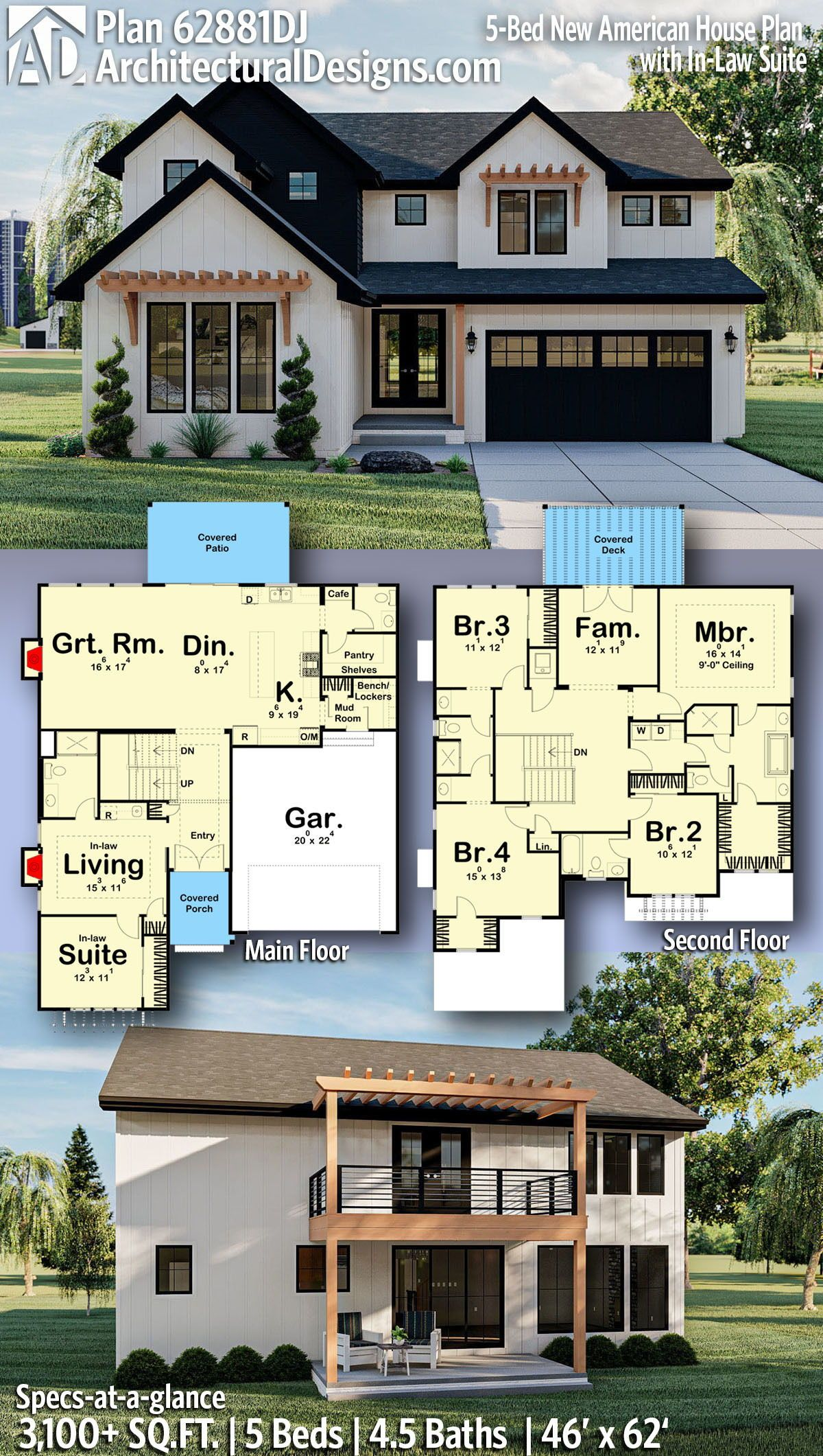 Plan 62881dj 5 Bed New American House Plan With In Law Suite Craftsman House Plans American Houses Sims House Plans