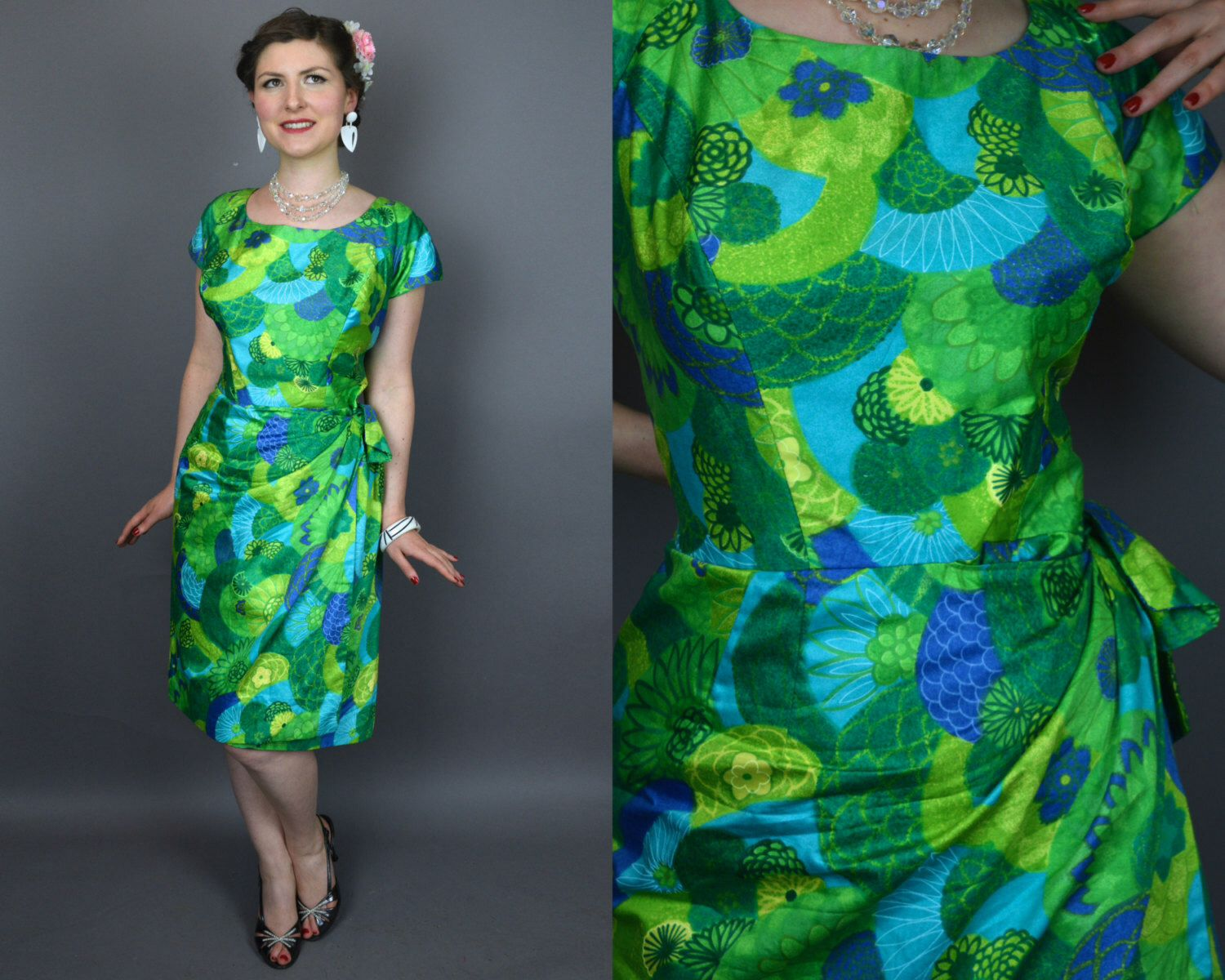 Vintage 60's Brightly Colored Green And