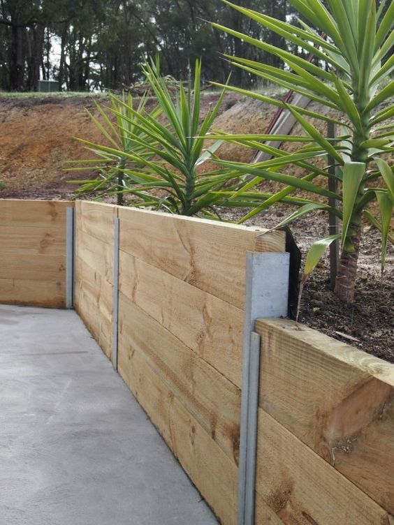 Timber Retaining Wall Designs repeat the process building subsequent rows and offsetting the timbers so that the ends of Top 10 Ideas For Diy Retaining Wall Construction