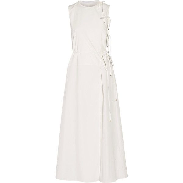 Rosetta Getty - Wrap-effect Cotton-poplin Maxi Dress ($413) ❤ liked on Polyvore featuring dresses, white, cocktail dresses, evening maxi dresses, wrap dress, evening dresses and white dress