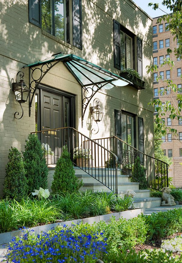 Add Decors To Your Exterior With 20 Awning Ideas Home Design Lover Front Door Awning Door Awnings Garden Canopy