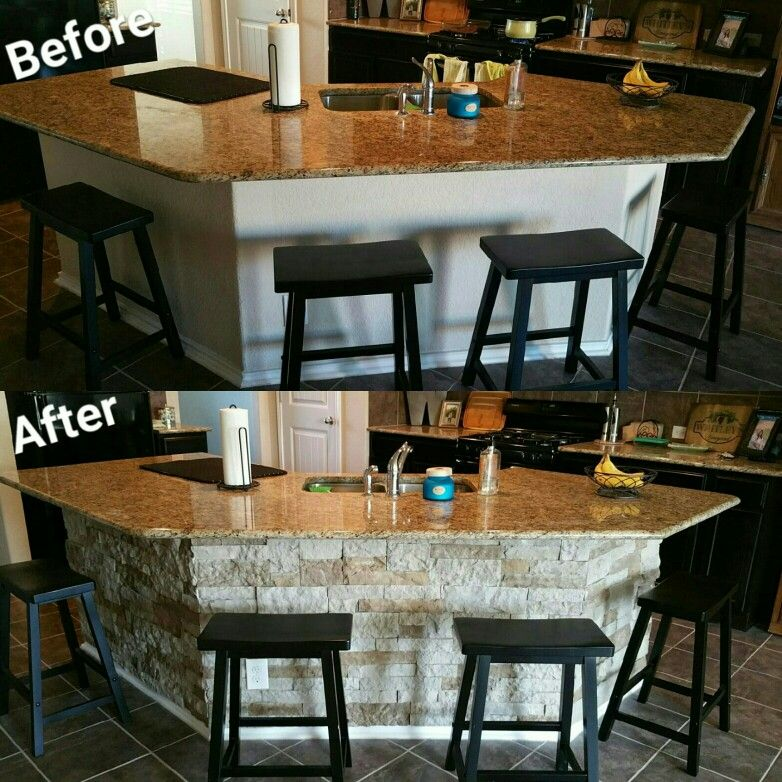 DIY Kitchen Island using AirStone- sold at Lowe\u0027s Lightweight and