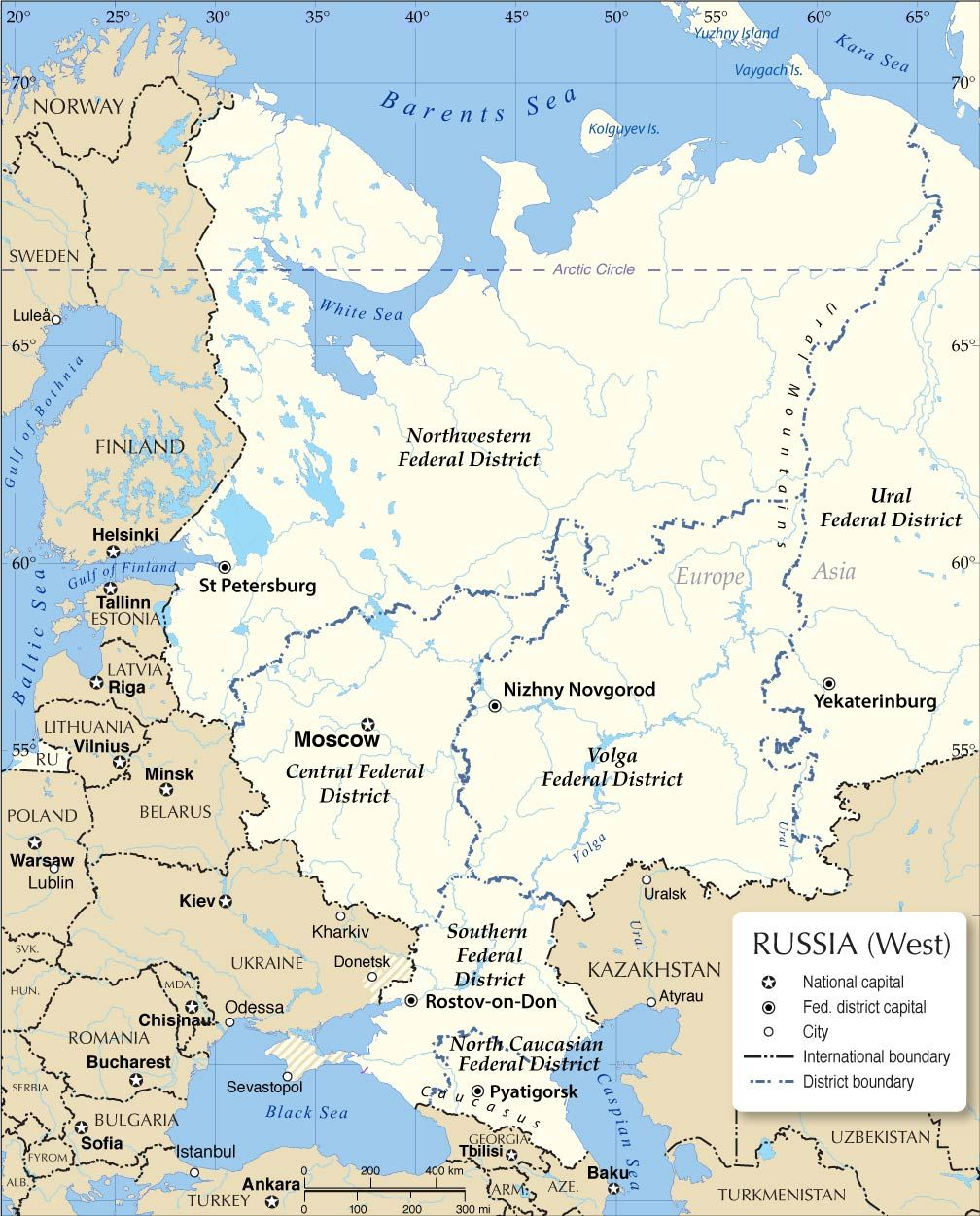 Administrative Divisions Of European Russia Political Map