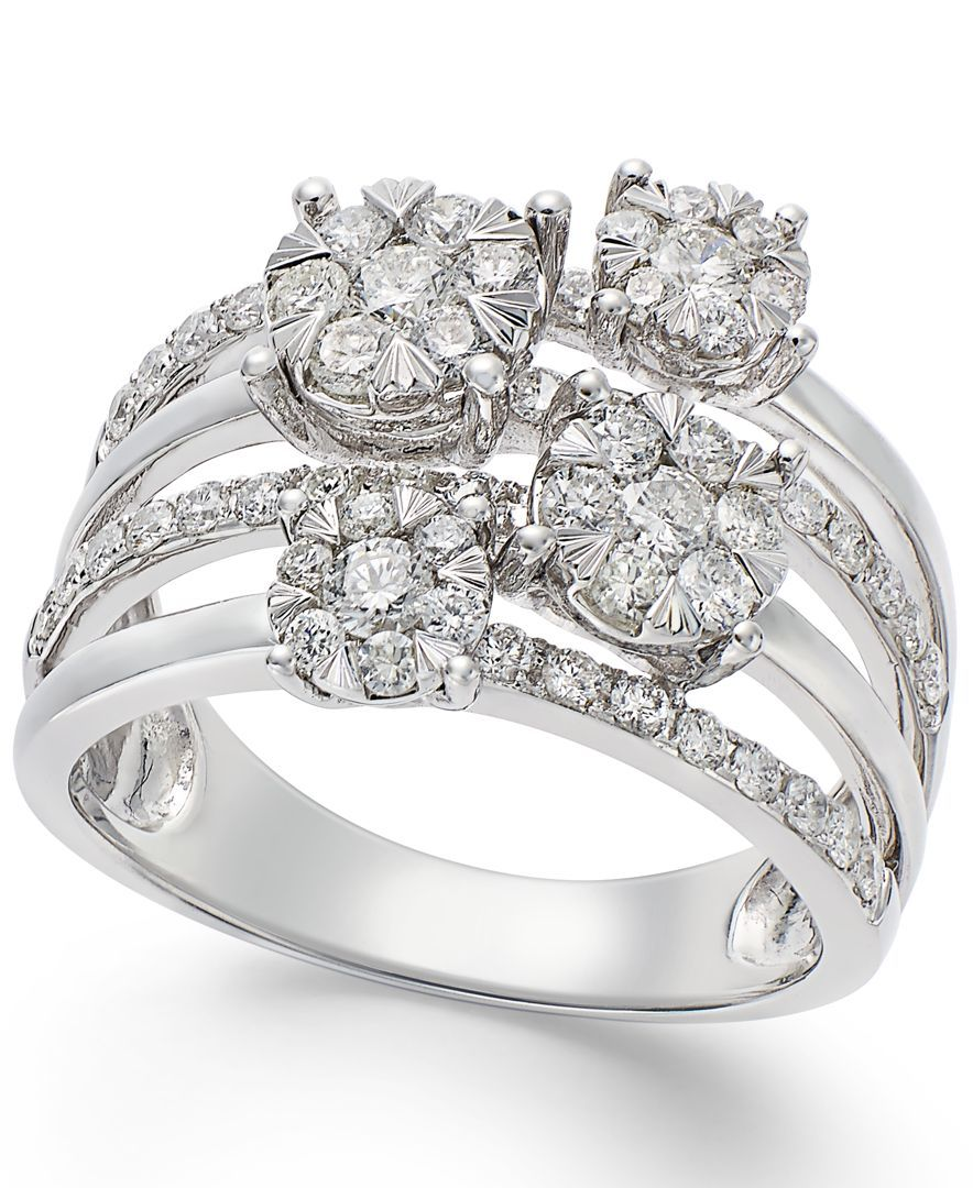 Miadora signature collection 14k white gold 1ct tdw diamond double row - This Multi Row Ring From Effy Sparkles With Round Cut Diamonds Ct Crafted In White Gold