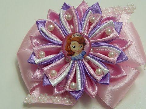 ceb41cb7b5e6 Como Hacer Flor Kanzashi de tela con perlas/ Moños y Flores grandes ...