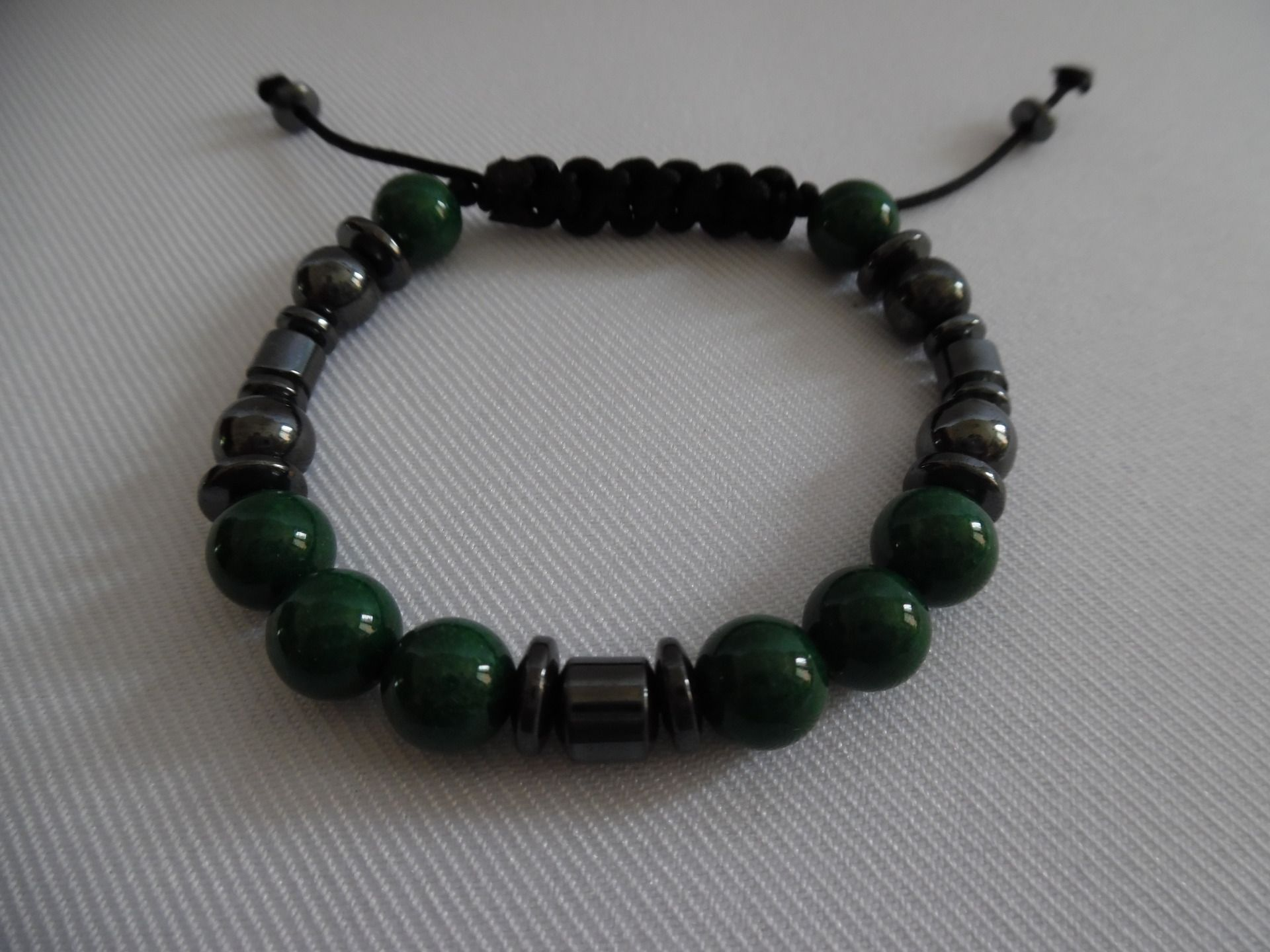 "Handmade Stripe Onyx Agate Gemme perles stretch bracelet 7/"" livraison gratuite"