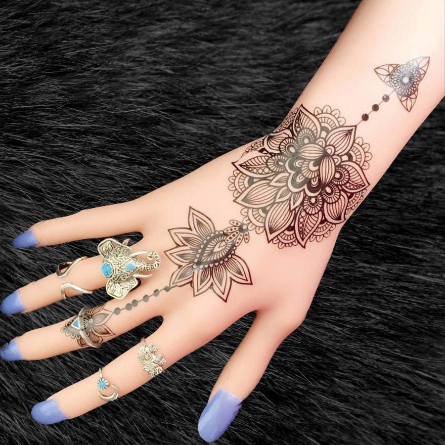 Aiyana Tribal Lotus Mandala Temporary Tattoo Tribal Hand Tattoos Hand Tattoos Hand Tattoos For Women