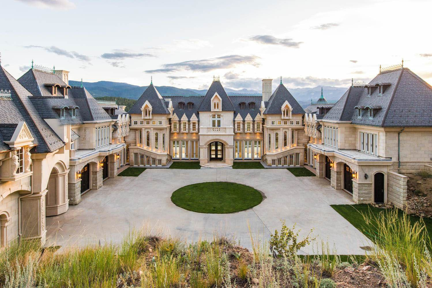 Limestone Chateau Mansion In The Rocky Mountains