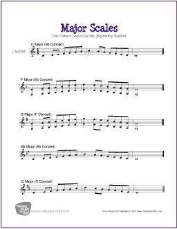 Major Scales For Clarinet Major Scale Clarinet Sheet Music