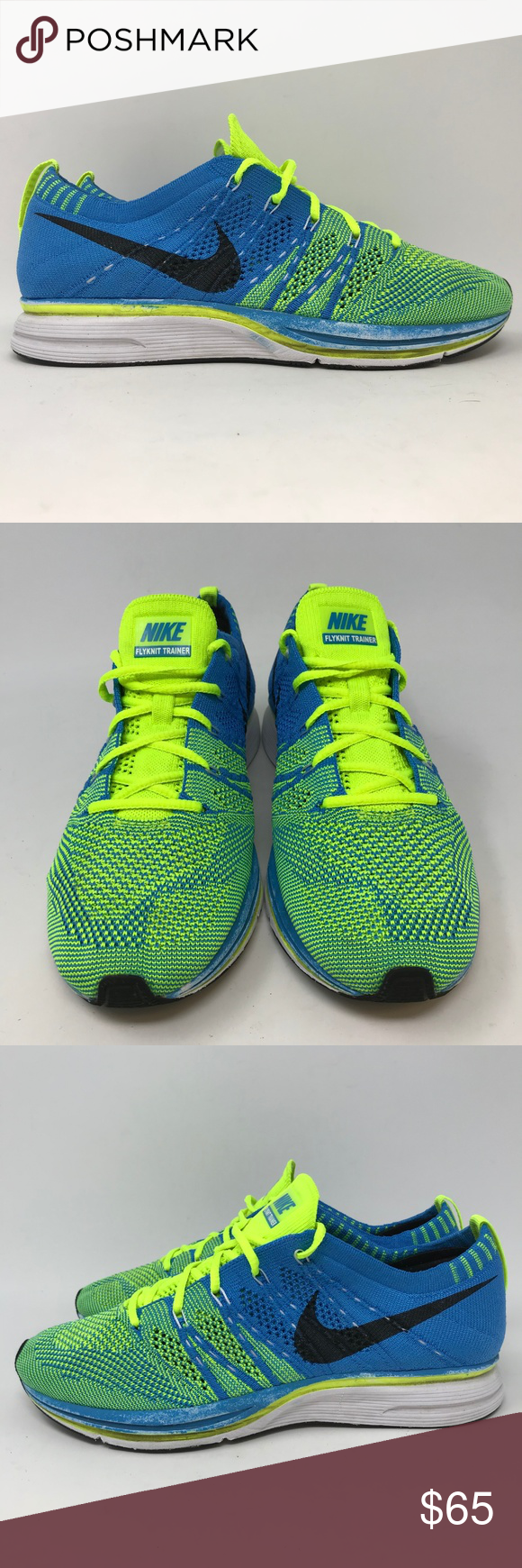 100% authentic 89a7c 1b313 Nike Flyknit Trainer Size 5.5 Running Shoes J10 Nike Flyknit Trainer Size  5.5 Blue Yellow 532984 447 Rare Olympic Running J10 Shoes are in used  condition, ...