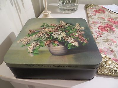 VINTAGE LILAC TIN 7 1/2 X 7 1/2 - AND 2 1/2 TALL