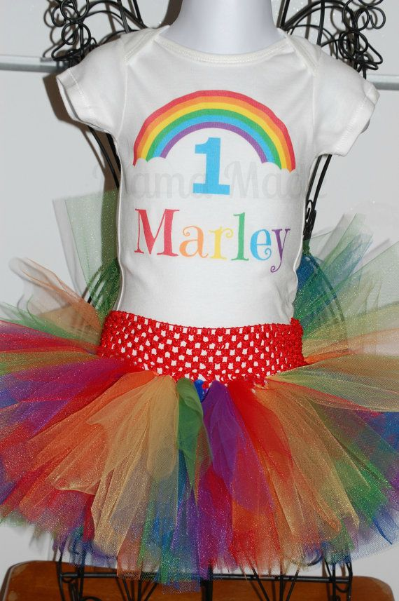 Personalized Rainbow Birthday Shirt Or Onesie And By Mamamadebows 3300 Thing