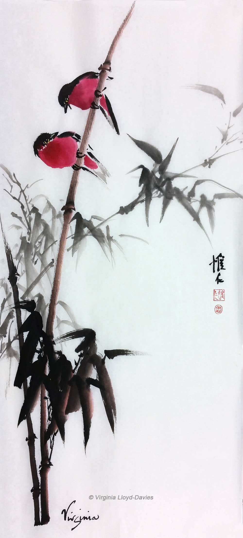 Chinese Brush Paintings Of Bamboo Grapes Lotus And Birds By