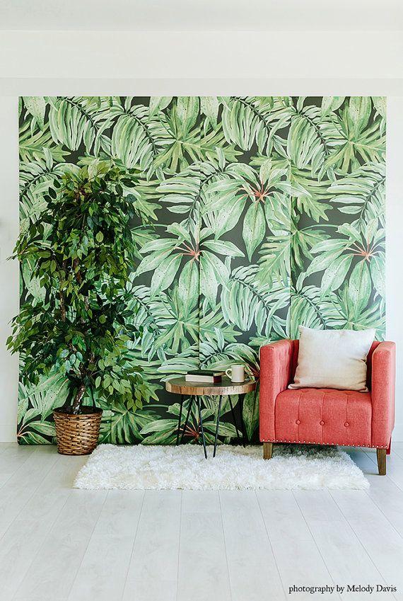 Banana Leaf Mural - Large Watercolor, Martinique Wallpaper ...