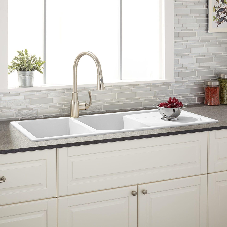 33 Algren Double Bowl Drop In Granite Composite Sink Black Kitchen Best Kitchen Sinks Composite Kitchen Sinks Drop In Kitchen Sink