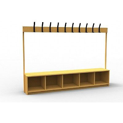 Primary School Wooden Cloakroom Bench With 10 Coat Hooks Cloakroom Wooden Primary School