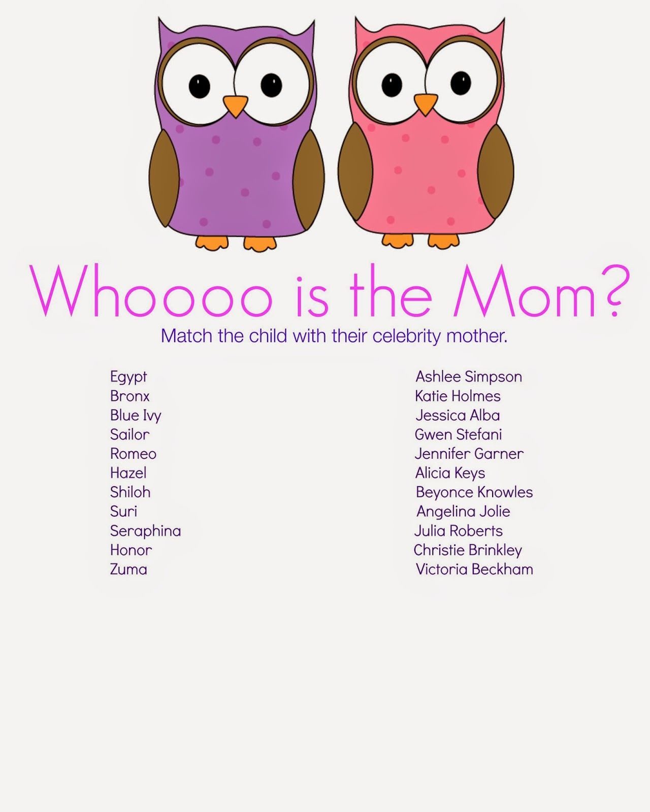 Whooo is the mother baby shower game baby showers ideas for Bathroom designs games