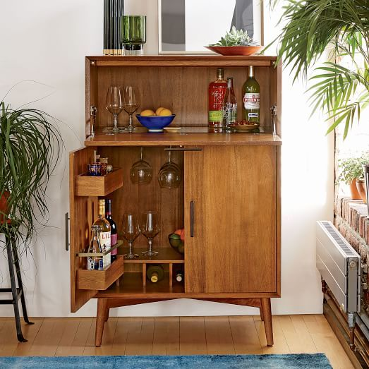 Mid Century Bar Cabinet Large West Elm Mid Century Modern Living Room Decor Living Room Decor Modern Mid Century Bar Cabinet