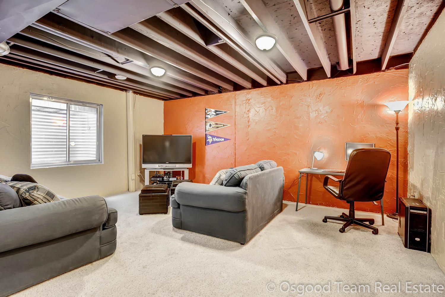 Fantastic Partially Finished Basement With Painted Ceiling Basement Remodel Diy Basement Ceiling Painted Ceiling