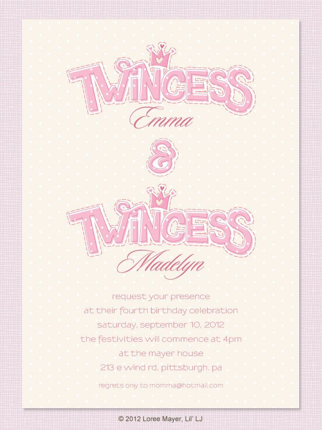 Twincess Birthday Invitation for Twin Girls Princess