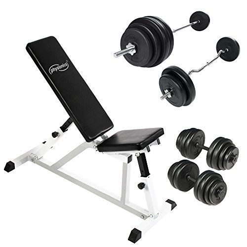 Weight Bench Multi Adjustable Set With Barbell 2 Dumbbells Ez Curl Bar For Fitness Gym Workout Adjustable Dumbbells Gym Workouts Weight Benches