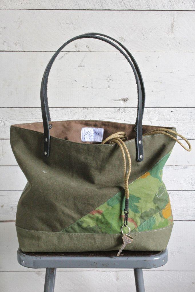 9442b2d49bb3 WWII era Pieced Canvas Tote Bag
