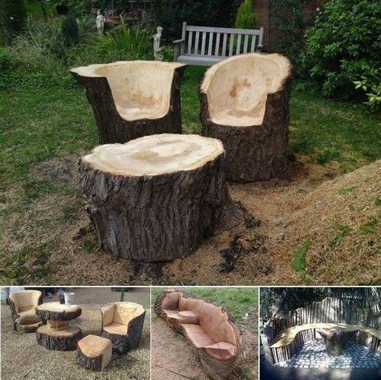 Creative Ideas Stunning Tree Trunk Garden Furniture Diy Outdoor Seating Diy Furniture Easy Trunk Furniture