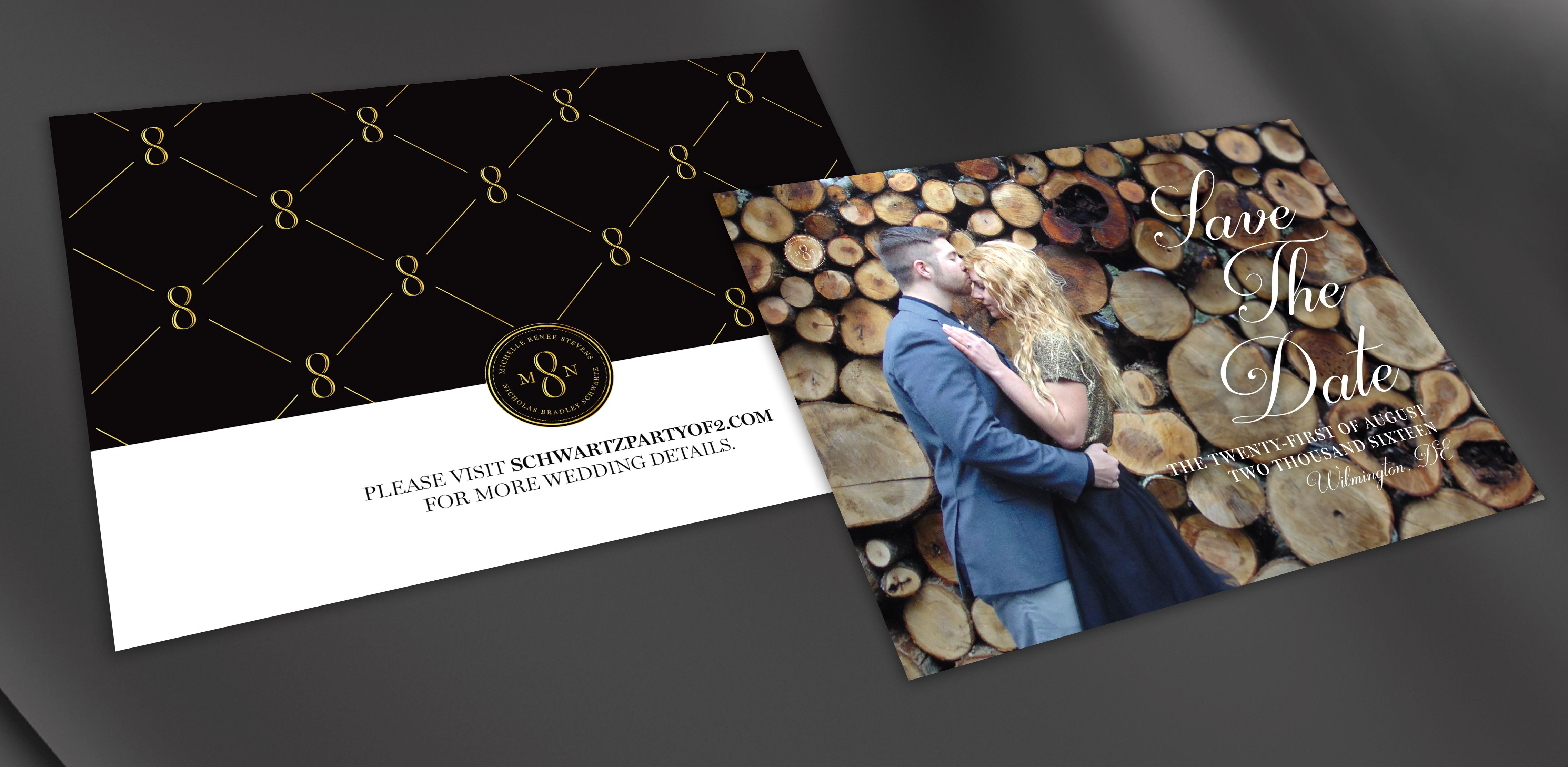 Save the date from Much Love Designs. Completely custom designs to brand your wedding.
