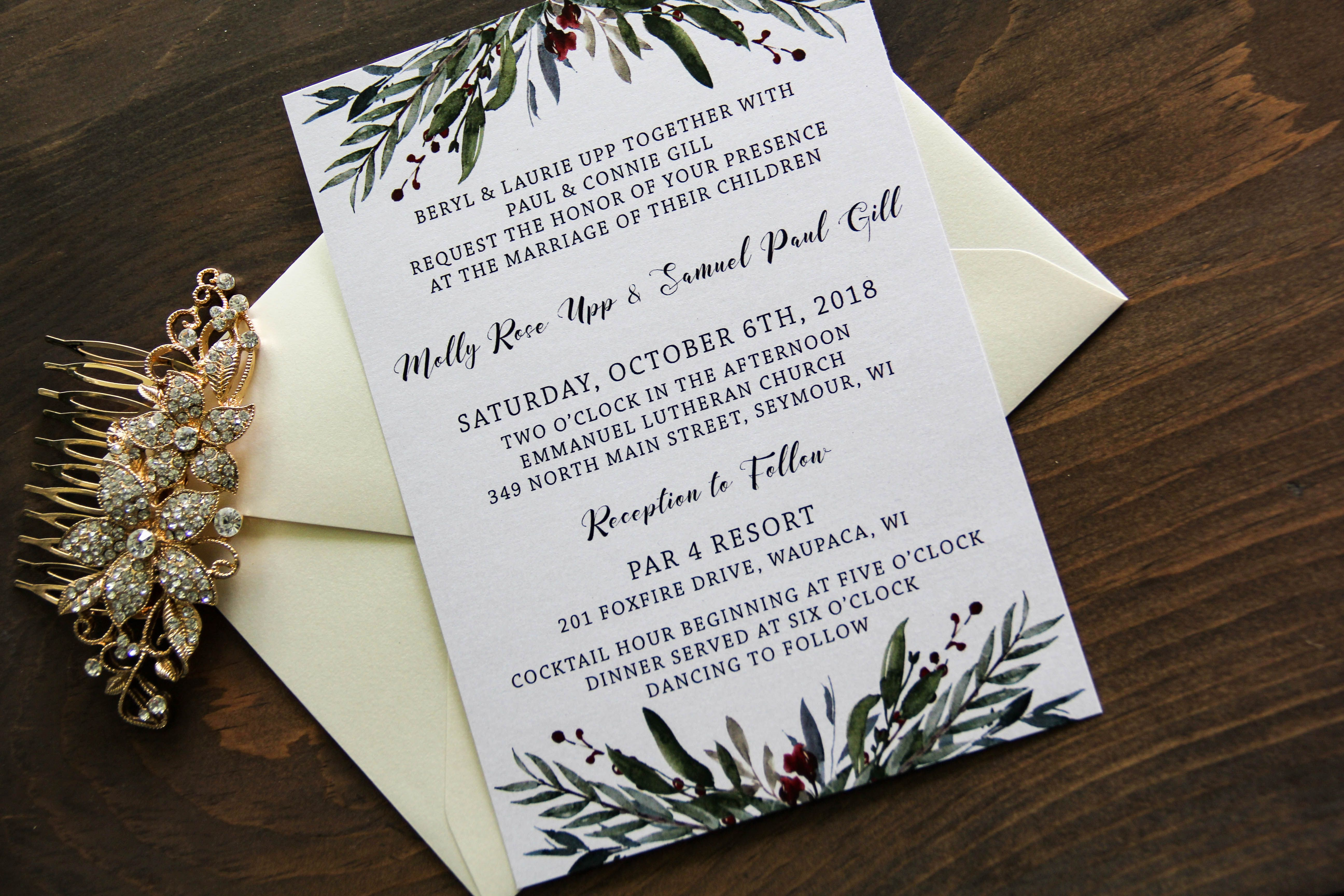 Wedding decorations red october 2018 Winter Berry Wedding Invitation Simple greens with red berry