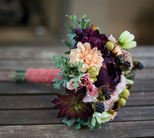Eggplant Wedding Flowers: Plum, Eggplant, Peach And Greens Rich Mix Bouquet Of