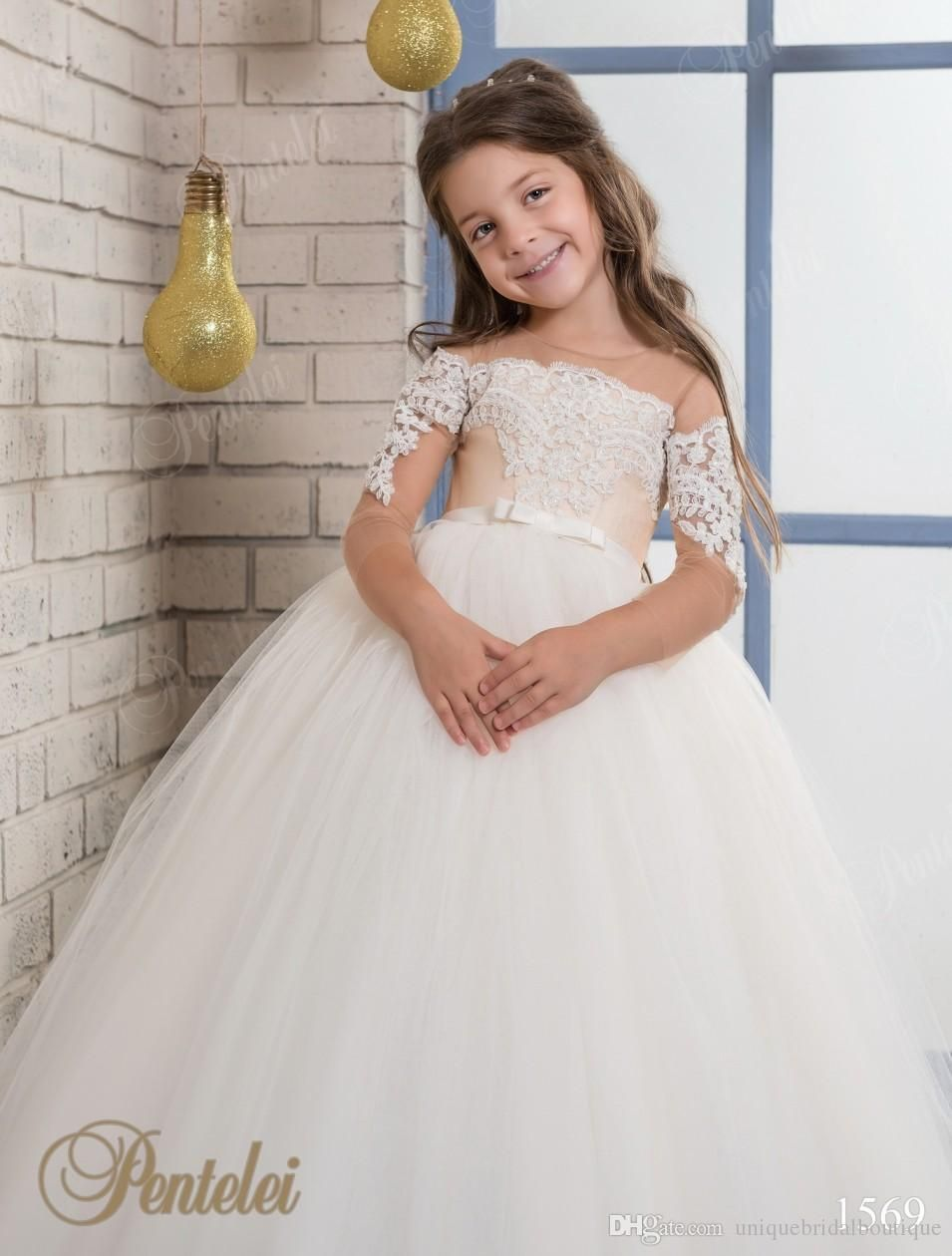 Kids wedding dresses illusion long sleeves 2017 two tones kids wedding dresses illusion long sleeves 2017 two tones appliques tulle princess flower little girls gowns junglespirit Gallery
