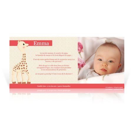 faire part naissance sophie la girafe past que cardissime sophie la girafe annonce la. Black Bedroom Furniture Sets. Home Design Ideas