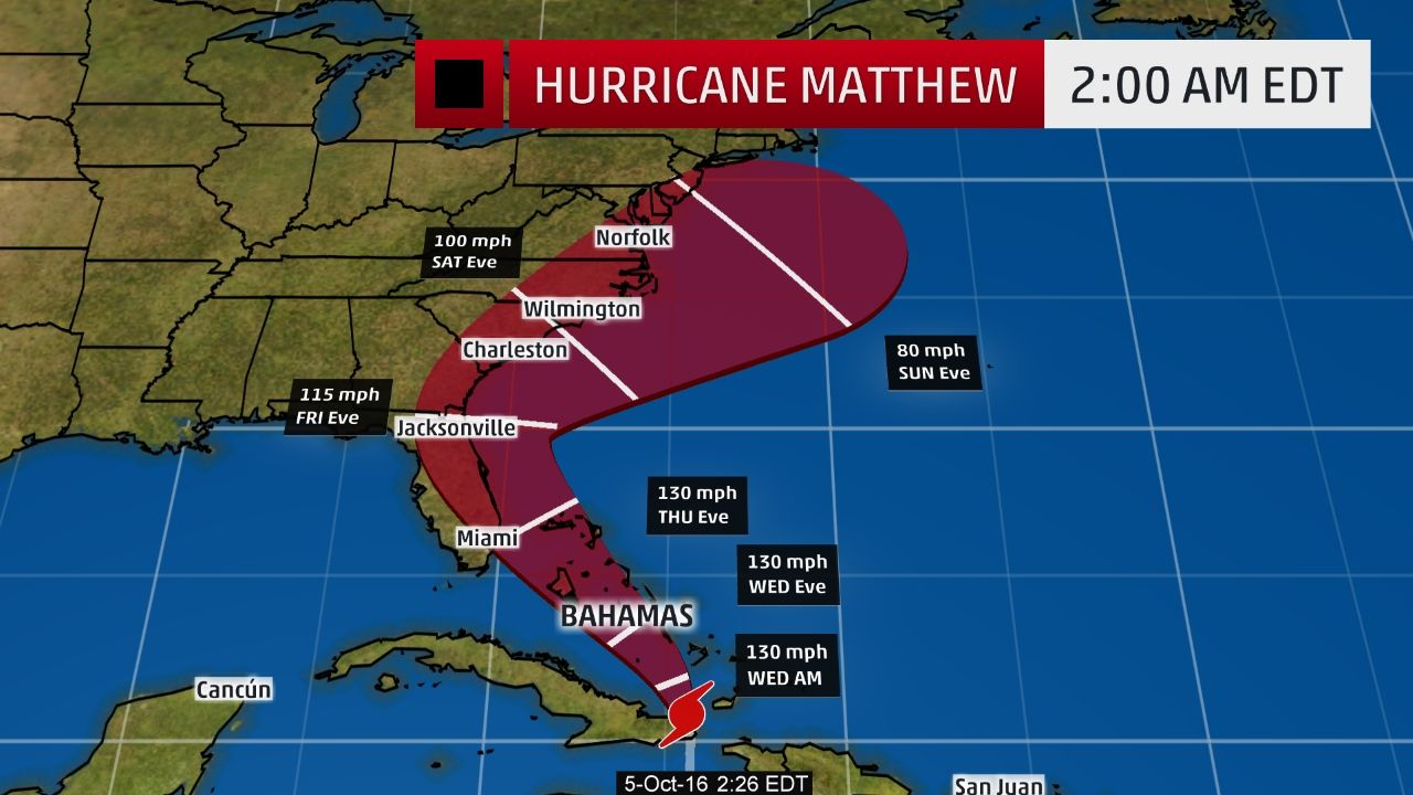 Hurricane Matthew May Be Rare Major Hurricane Strike To Florida East Coast Conditions Deteriorating In Bahama Hurricane Matthew Storm Surge Florida East Coast