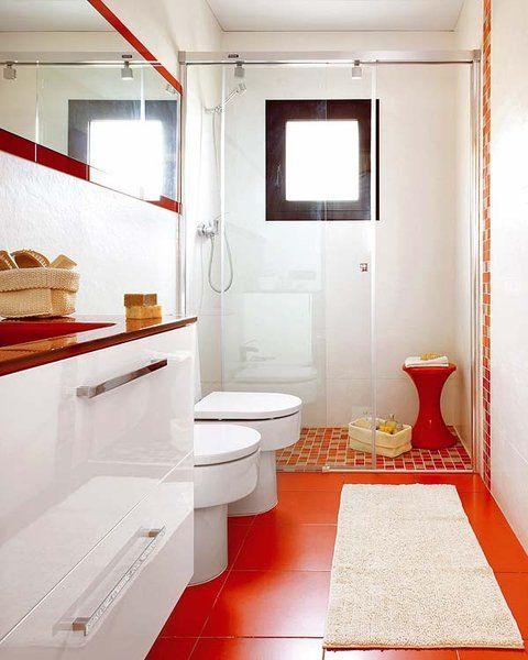 Un baño rectangular en rojo y blanco   Planos de baños ...
