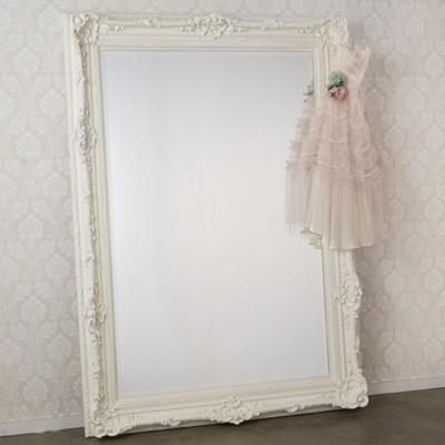 Large white mirror on floor baby dress hanging photo for Floor mirror white frame