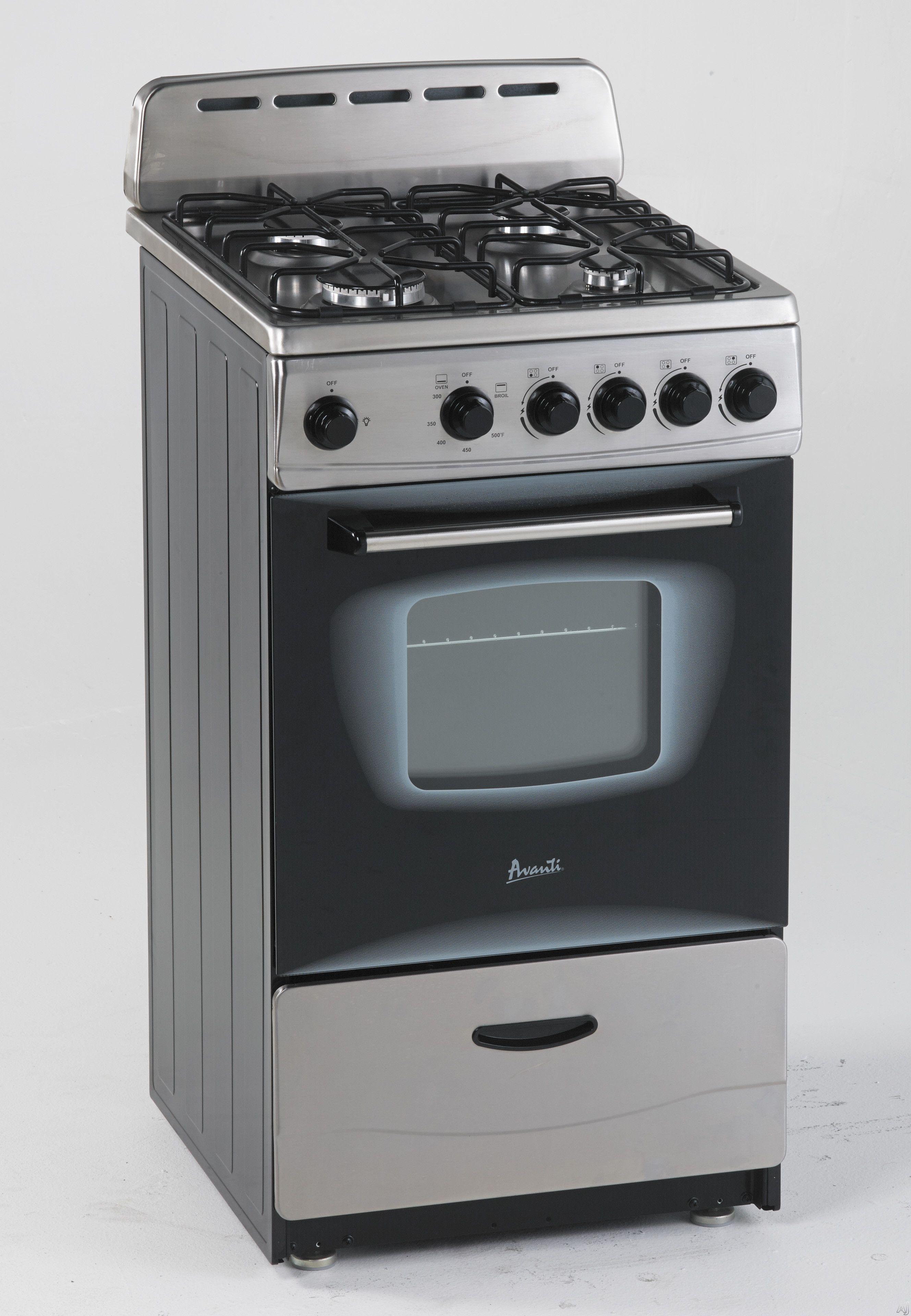 Avanti Gr20x 20 Freestanding Gas Range With 4 Sealed Burners Waist High Broiler Backsplash Lp Conversion Kit And Storage Drawer