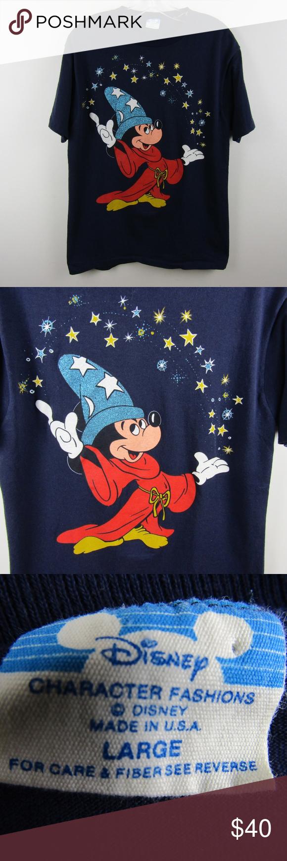 Vintage Disney Fantasia Wizard Mickey Shirt Large Vintage Disney Mickey Shirt Fantasia Disney