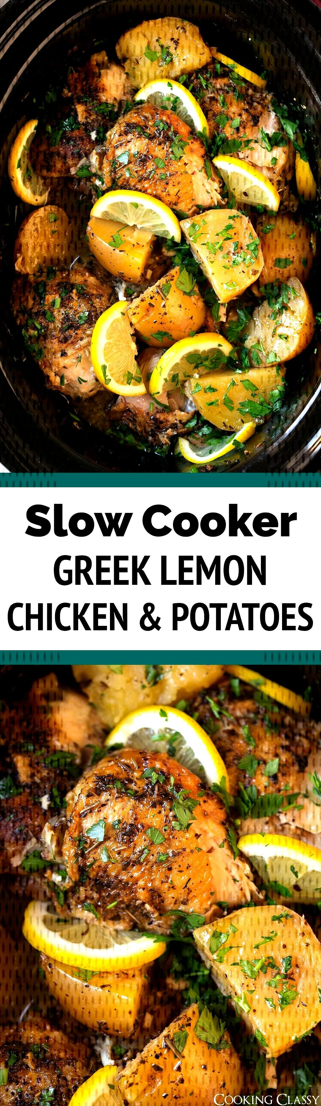 Slow Cooker Greek Lemon Chicken and Potatoes - such a delicious bright flavor and it's oh so tender