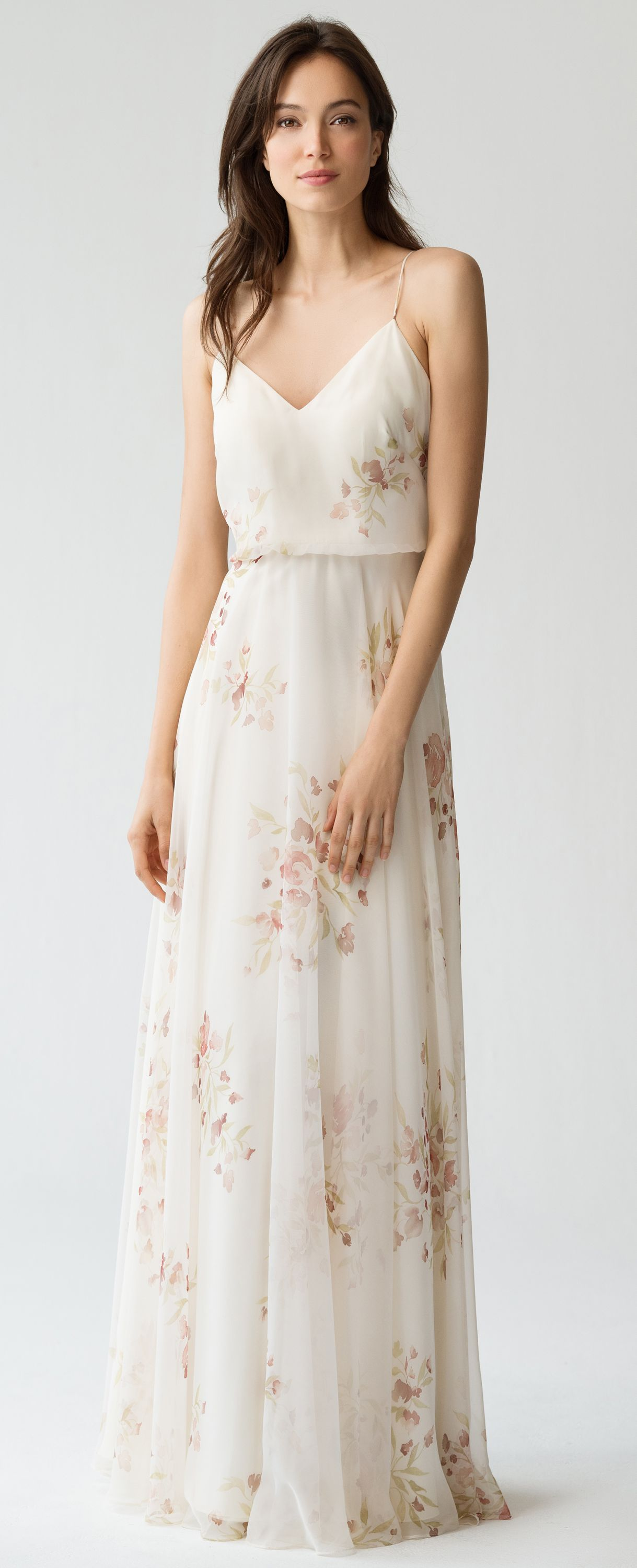 7aa77a109 Inesse Bridesmaid Dress in Ivory Soft Rose Eden Bouquet Floral Print by Jenny  Yoo #springwedding #summerwedding #pastels