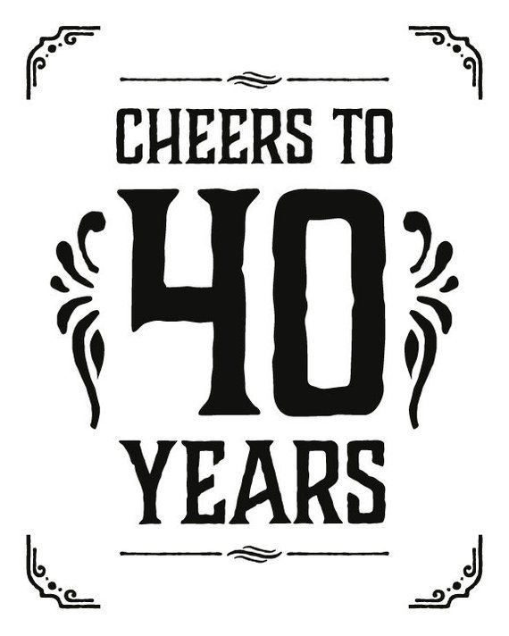 Cheers to 40 years sign. Printable 40th birthday decor