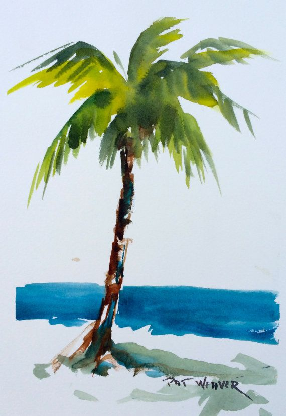 Beach Palm Tree Original Watercolor Painting Tree Watercolor