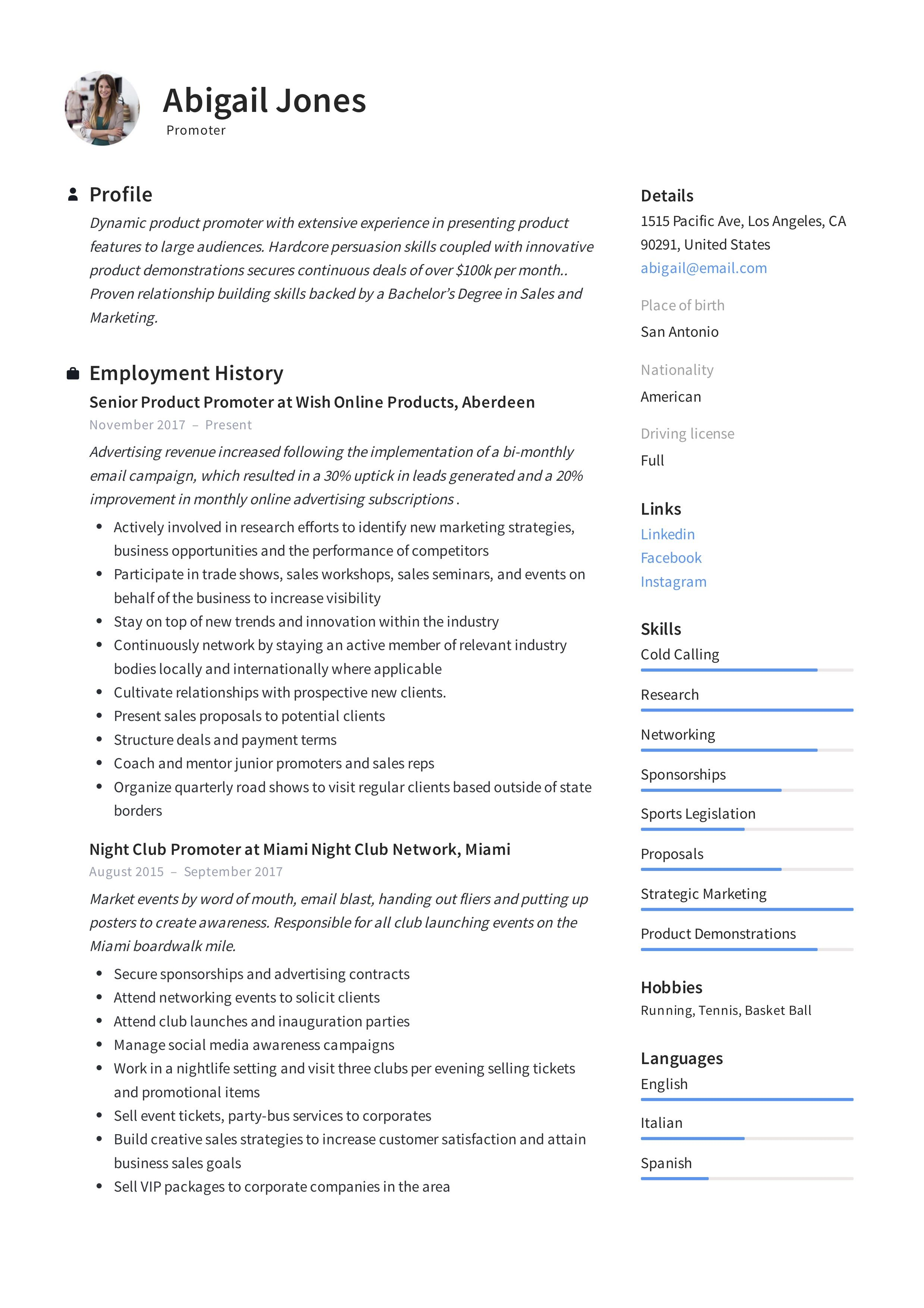 Promoter Resume Example & Writing Guide in 2020 Resume