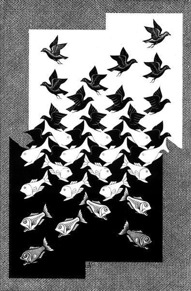 Céu e água II, 1938 M.C. Escher ( Holanda, 1898-1972