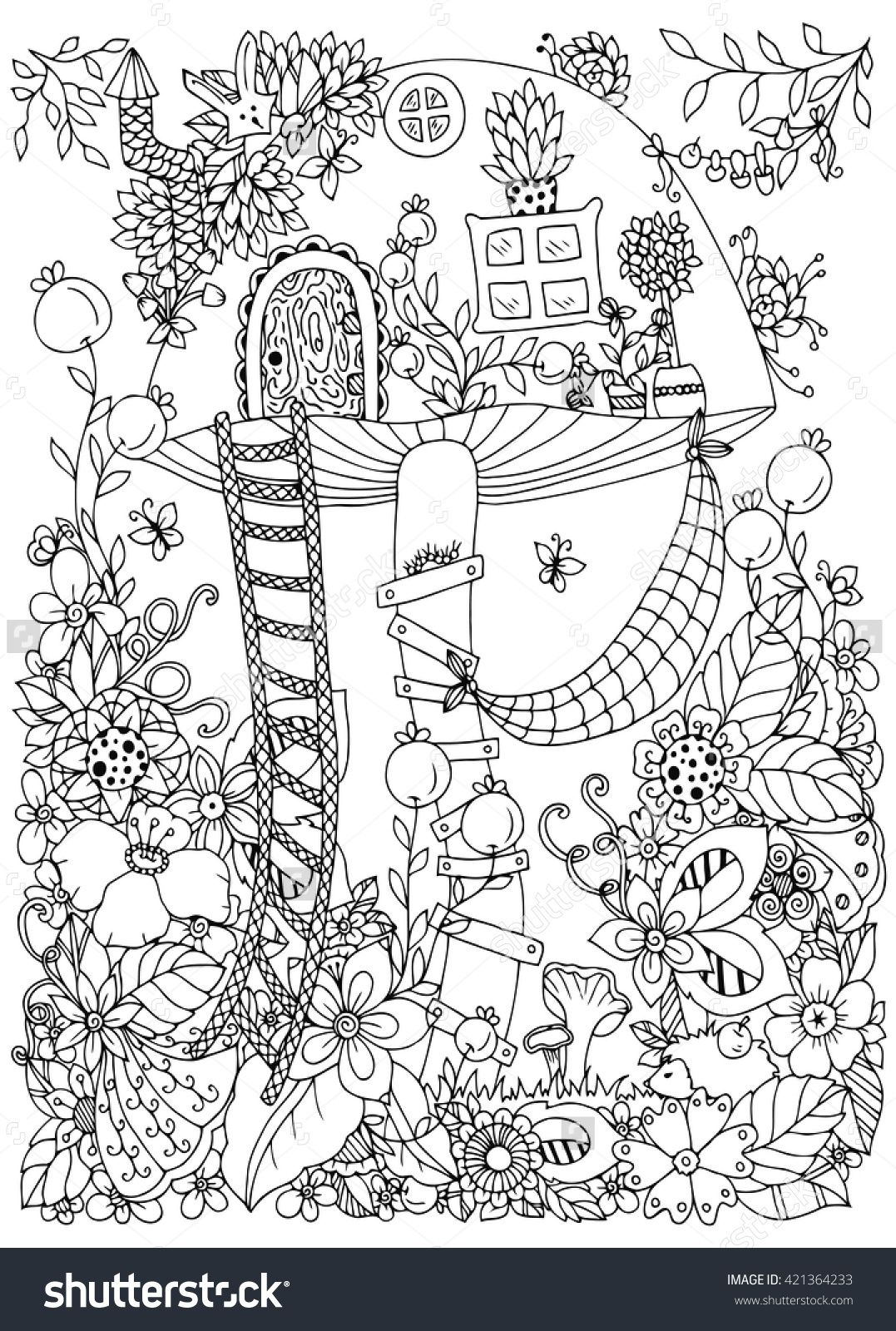 Vector Illustration Zen Tangle House Of The Fungus In Forest Doodle Flowers Coloring Book Anti Stress For Adults Page Black And White