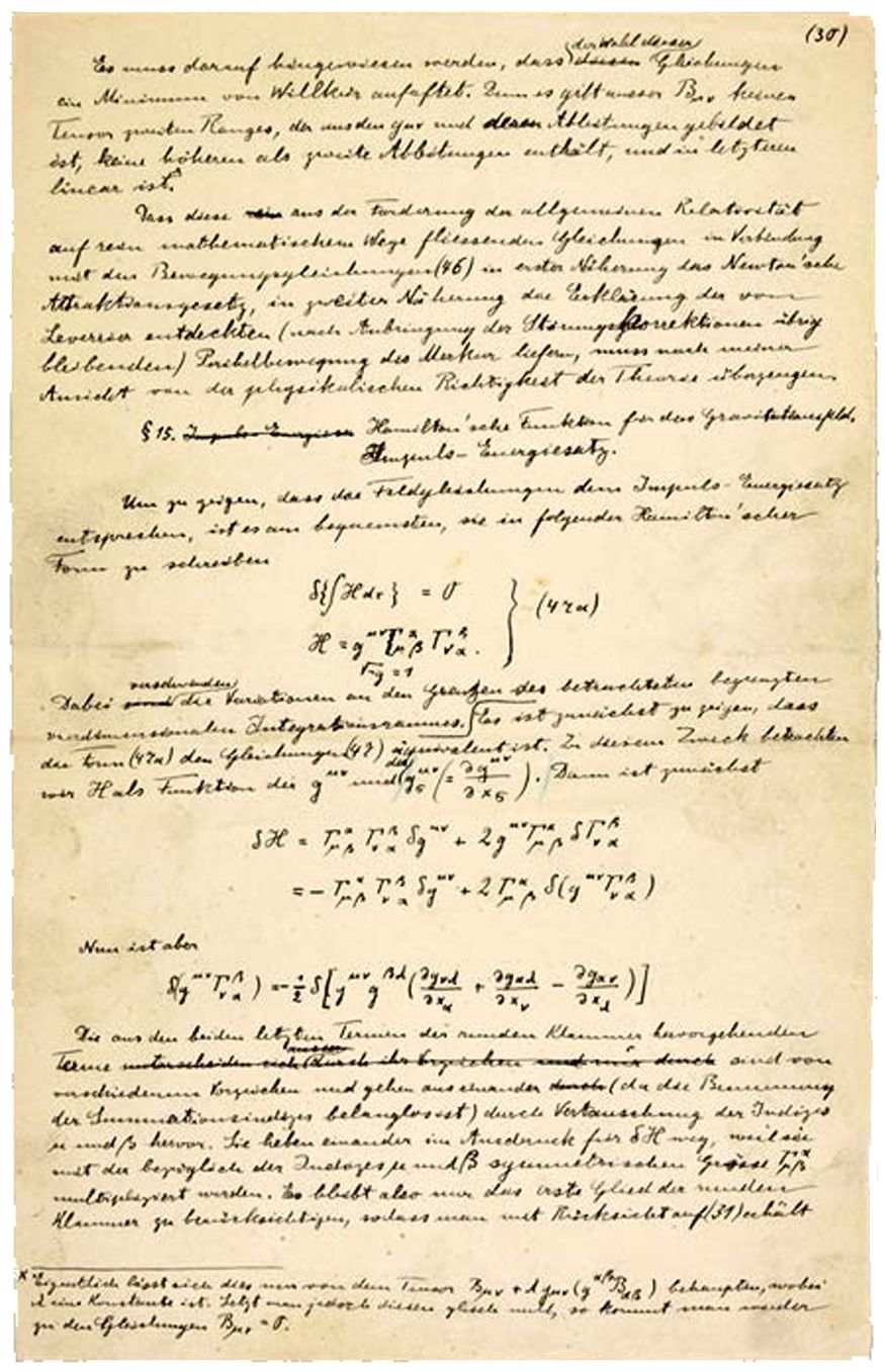 a manuscript page of albert einstein s paper on the general theory paper