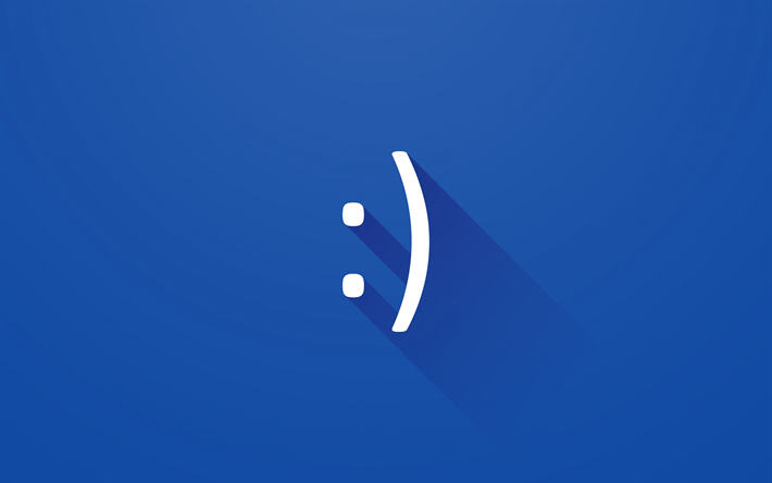 Download Wallpapers Smile 4k Minimal Blue Background Creative
