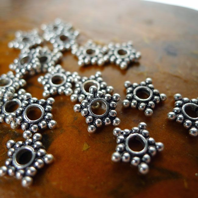 30 PCS 16MM SPACER BRUSHED BALL STERLING SILVER  PLATED  H-187