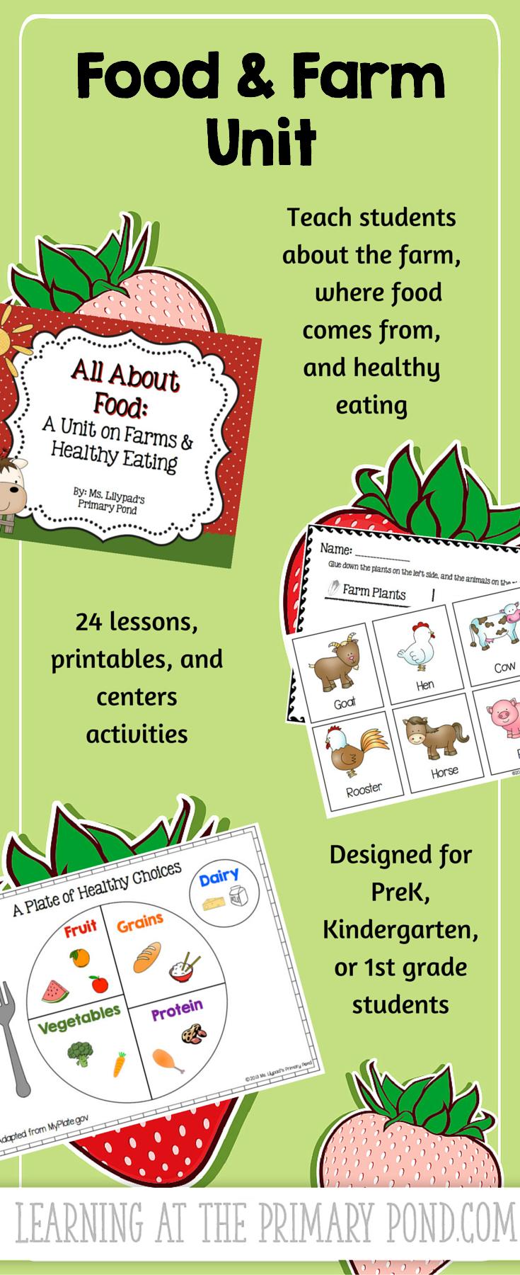 Farm and Food Unit for Preschool, Kindergarten, or First Grade | K-2 ...