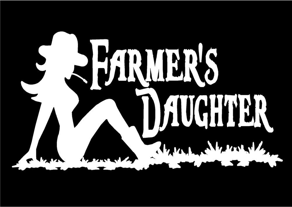 Two Farmer S Daughter Car Decals Sexy Mudflap Cowgirl Vinyl Decal
